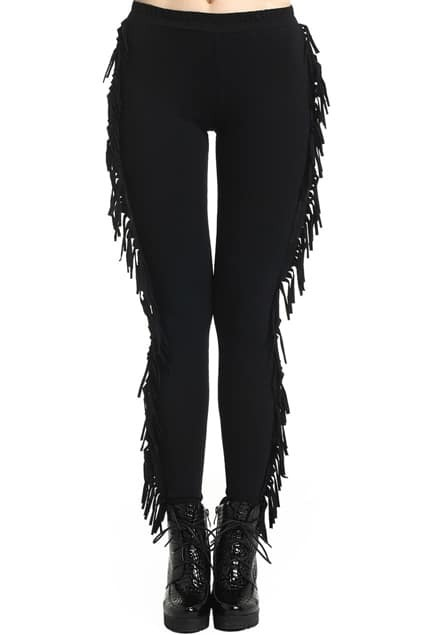 ROMWE Side Tassel Solid Color Black Leggings