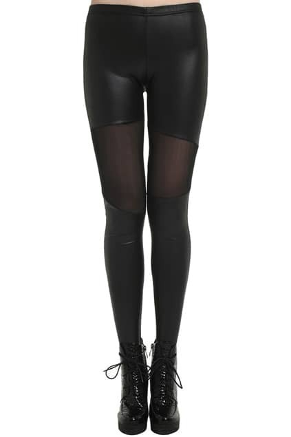 ROMWE Dual-tone Opaque Sheer Mesh Fake Leather Black Leggings