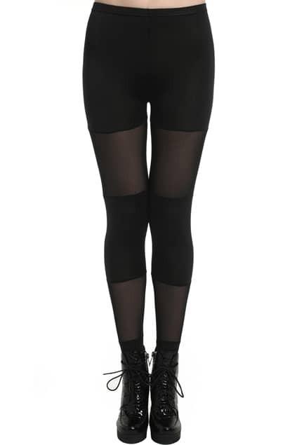 ROMWE Candy Colored Dual-tone Sheer Mesh Black Leggings