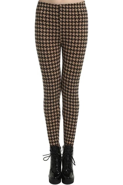 ROMWE Contrasting Houndstooth Coffee Brown Leggings