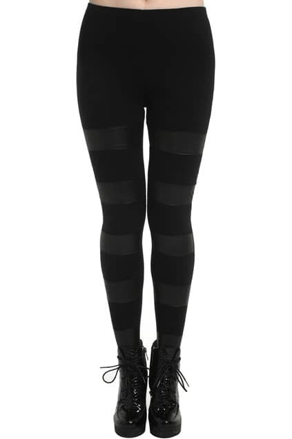 Dual-tone Contrast Color Black Leggings