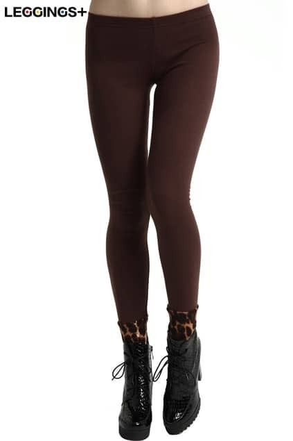 ROMWE Leopard Cuffs Coffee Brown Solid Color Leggings