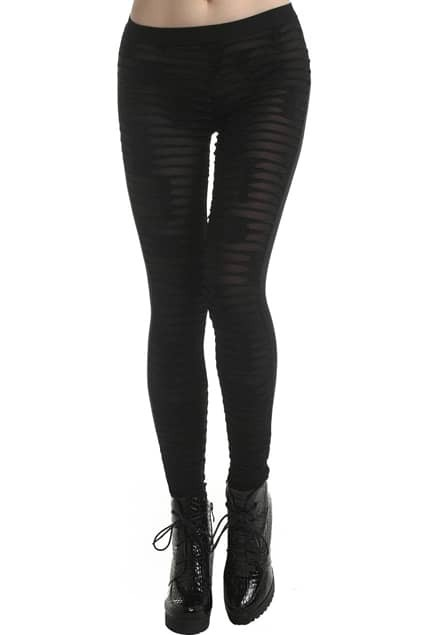 ROMWE Sheer Mesh Dual-tone Cut-out Black Leggings