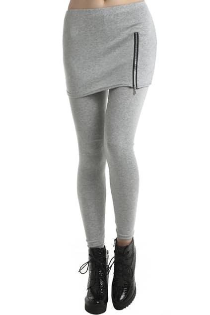 ROMWE Zippered Light Gray Skirted Solid Color Leggings