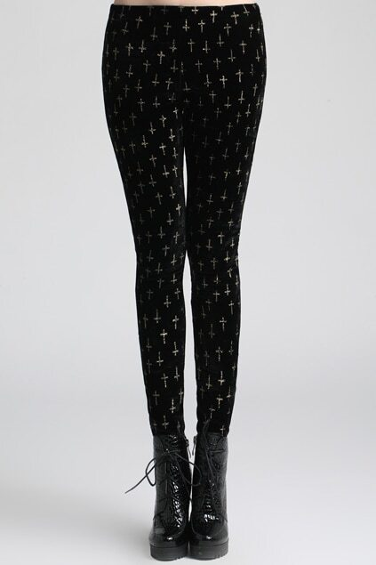 Cross Embroidery Black Leggings