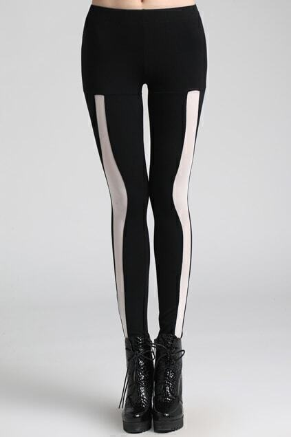 Splicing Hollow Black Leggings