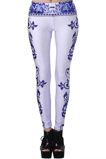 ROMWE Blue And White Porcelain Print Leggings