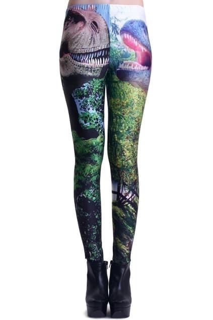 Forest Dinosaur Print Leggings