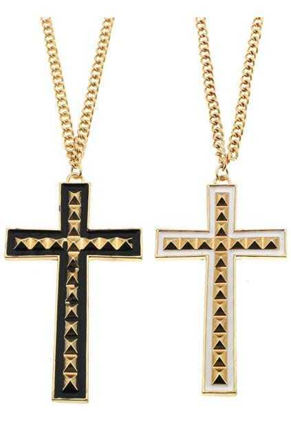Pyramid Cross Charm Necklace