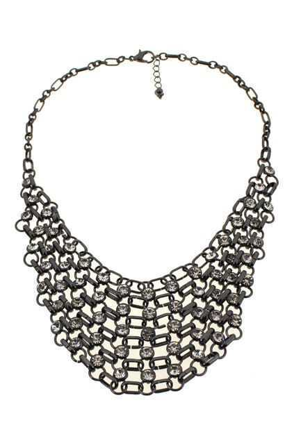 Net-shaped Diamante Pendant Necklace