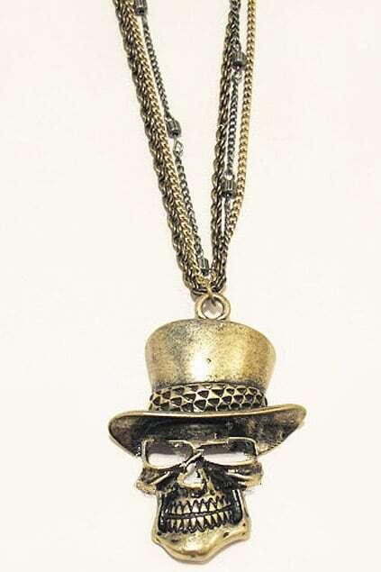 Hat Skull Pendant Necklace