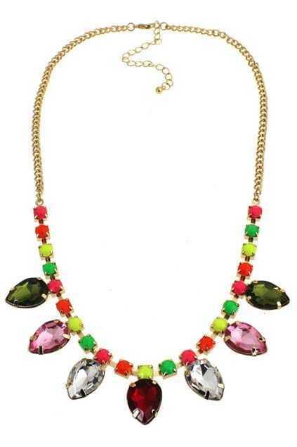 Colorful Diamante Pendant Necklace