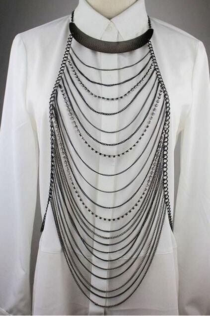 Semi-scoop Neck Multilayer Shoulder Necklace