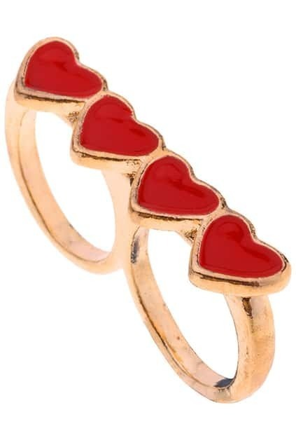 Multi Golden Loving Heart Ring