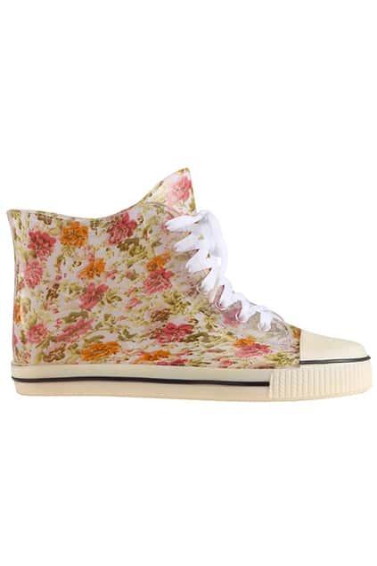 Lace-up Floral Canvas Shoes