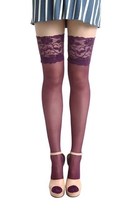 Lace Trim Purple Tights