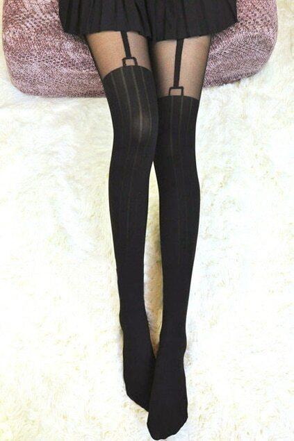 Black Striped Tights