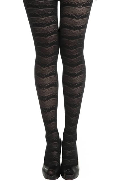 Wavy Lace Black Tights