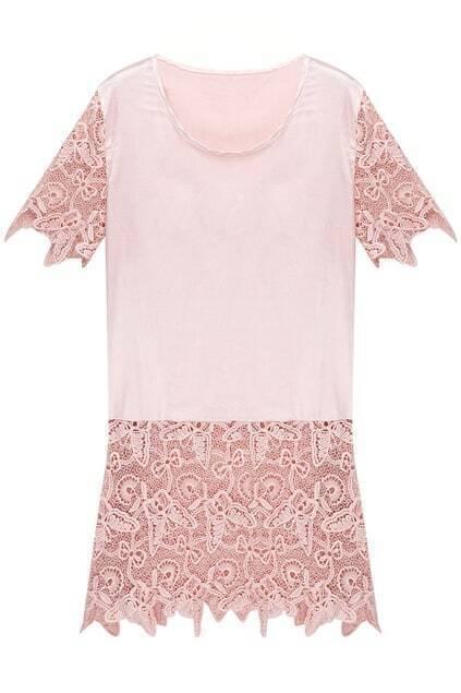 Dual-tone Pink Lace Blouse