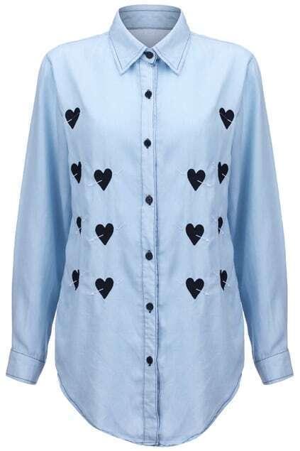 Aroow Through Heart Embroidered Light-blue Shirt
