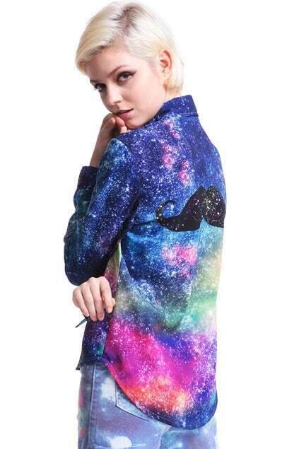 Galaxy Mustache Print Shirt