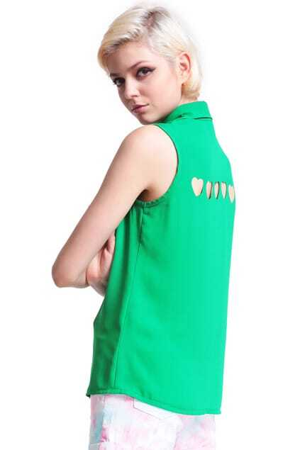 Green Heart Cut-out Shirt