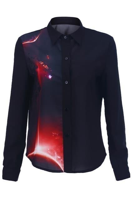 Half Planet Print Black Shirt