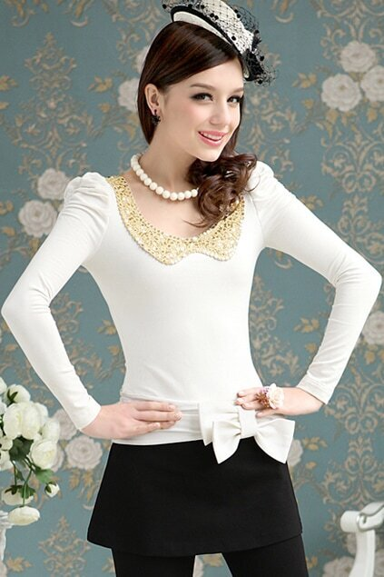 Sequined Collar White Blouse
