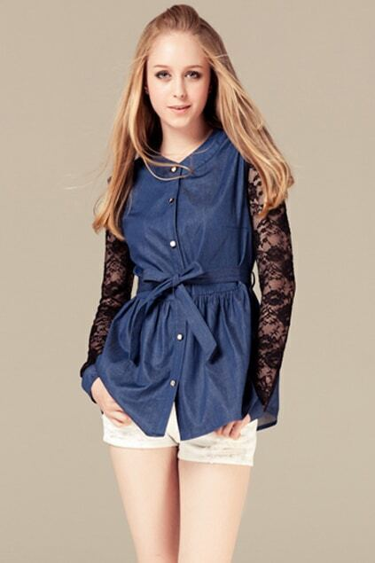 Lace Sleeves Blue Blouse
