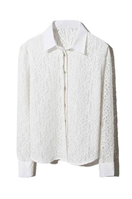 Hollow Buttoned White Shirt