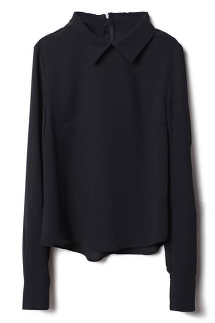Zippered Black Blouse