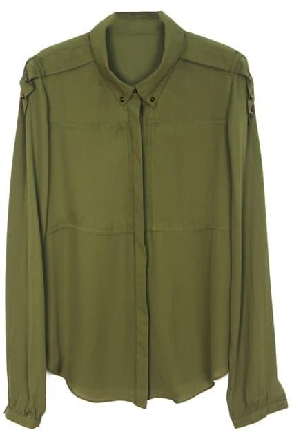 Peaked Lapel Dark-green Shirt