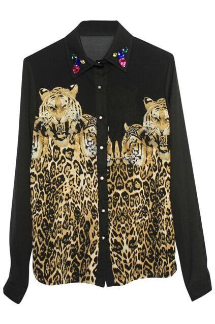 Tigers Patterns Black-leopard Shirt