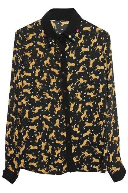 Rivet Buttons Leopard Shirt