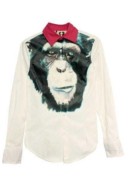 Orangutan Print White Shirt