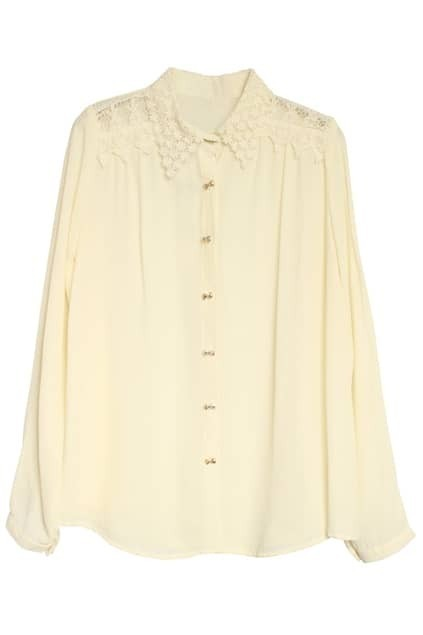 Off-the-shoulder Cream Lace Shirt