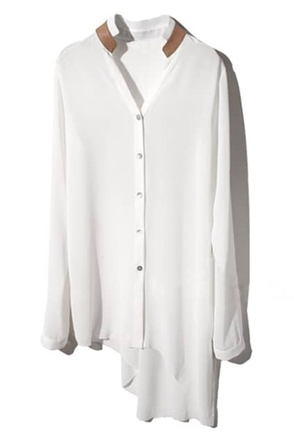 Splicing Asymmetric White Shirt