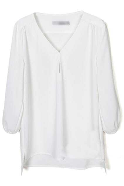 V-neck White Chiffon Blouse