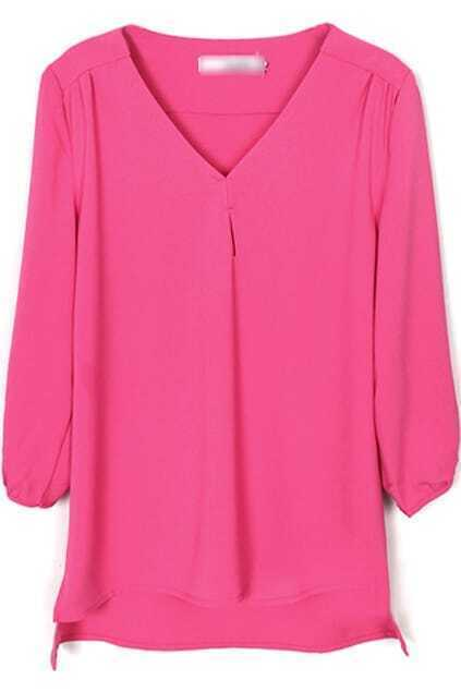 V-neck Rose Chiffon Blouse