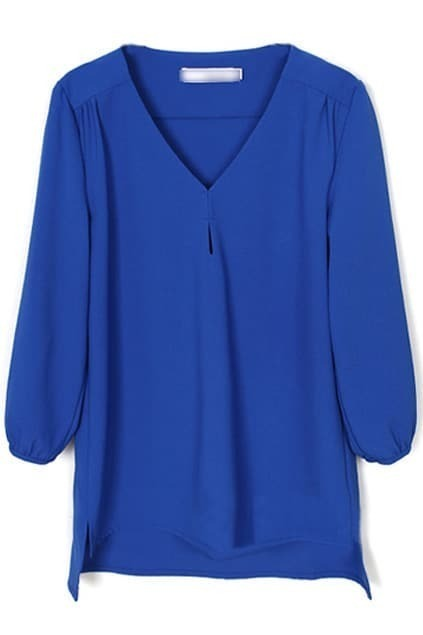 V-neck Blue Chiffon Blouse