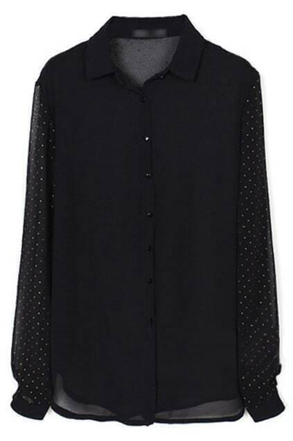 Sheer Back Black Chiffon Blouse