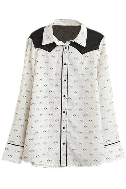 Contrast Color Horse Print Shirt