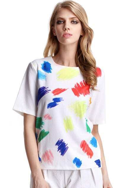 Colorful Painting White Blouse
