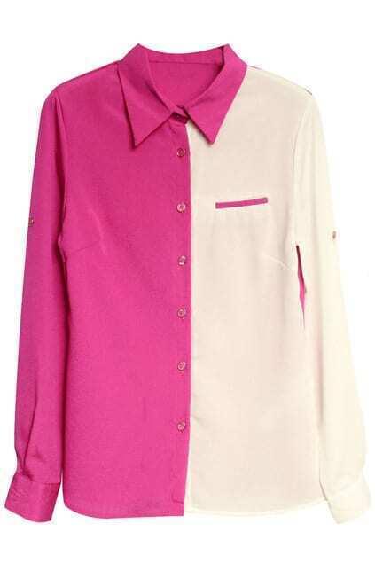 Color Block Chiffon Shirt