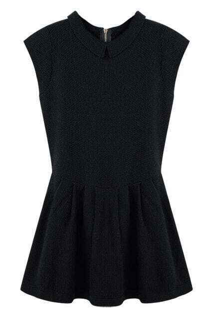 Zipper Flouncing Sleeveless Black Dress