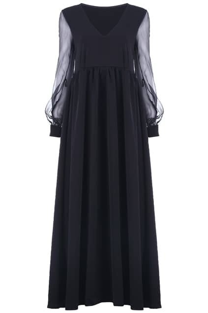 Splicing V-neck Black Dress