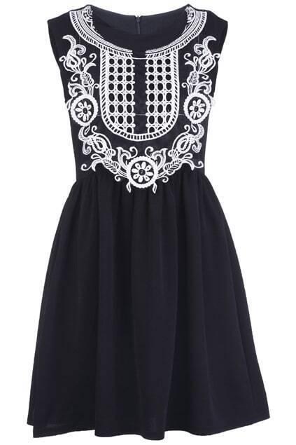Sleeveless Embroidery Black Dress