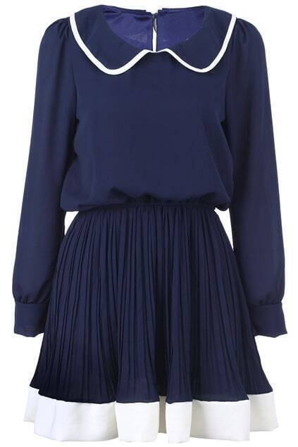 Doll-collar Blue Pleated Dress