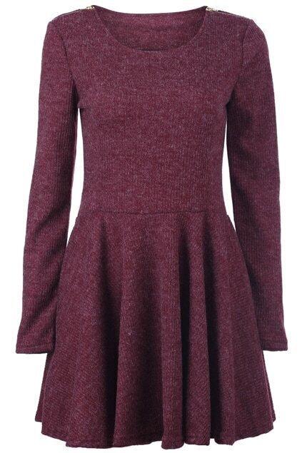 Twin Zippered Bordeaux Dress