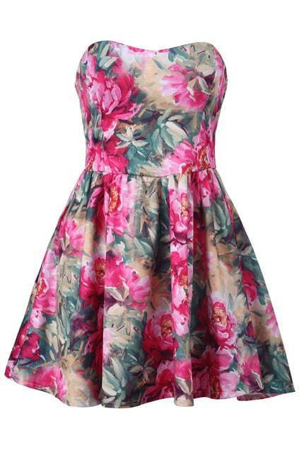 Zippered Bandeau Floral Dress